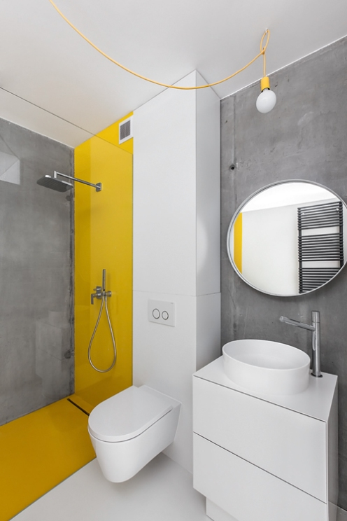 Loftowa łazienka bez płytek
