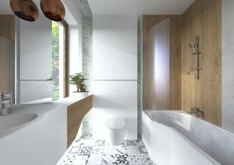 Łazienka z bielą, szarością i drewnem